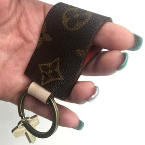 Louis Vuitton Keychain Upcycled Fleur Print Brass
